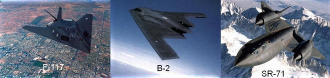 F-117    B-2    SR-71